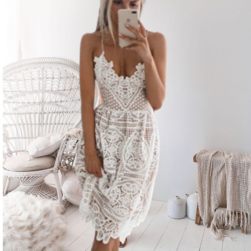 Dress Women Sexy Lace Halter Plus Size Christmas Vintage Fashion Woman Clothes White Party Dresses Club Gothic Summer Coco