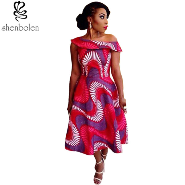 Africa Clothing sexy slash neck collar african dress for women fabric african wax print fabric