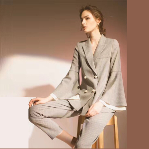 Autumn Gray Striped Long Flare Sleeves Pearl Buttons Ladies Pant Suits 2 Piece Set Women High Waist New