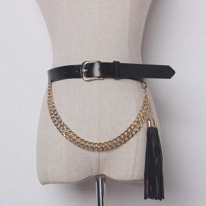 Casual Genuine Leather Gold Pin buckles Chains Tassels Black Women Belts New Fashion Accessories