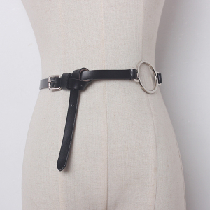 Casual Metal Ring Simple Decorative Genuine Leather Women Belt New Fashion Thin Belts