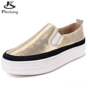 2017 Genuine Leather platform shoes bottom Casual women shoes round toe silver gold Vintage oxford shoes for women US size 8