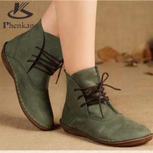 2017 Handmade Women Genuine Leather Spring Lace up Ankle Boots Comfortable quality soft Shoes Brand Designer us size 9