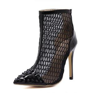 Black Rivet High-heeled Shoes Rome Style Gladiator Booties Sexy Ladies Stiletto Pumps Women High Heels Party Wedding Dress Shoes