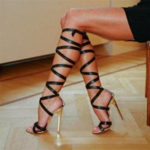 Brand Roman Sandals High Heels Women Pumps Classic Stilettos Slingback Strappy Gladiator Knee High Boots Shoes