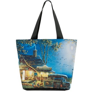 Casual Women Canvas Shoulder Bags Daily Use Woman Canvas Tote Female Canvas Beach Bag Landscape Pritned Shopping Bag