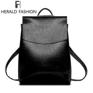 Famous Brand Backpack Women Backpacks Solid Vintage School Bags For Girls PU Leather Backpack Mochilas Herald Fashion