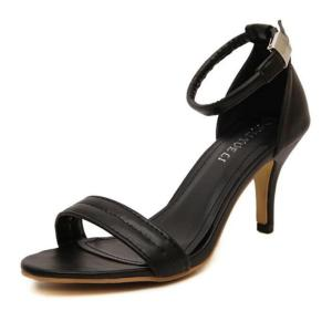 Fashion High Heels A Word Cingulate White Black Open-Toed Fine With Sandals Women's High-Heeled Sandals