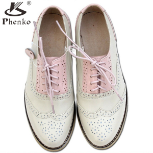 Genuine leather big woman US size 11 designer vintage flat shoes round toe handmade white gray beige oxford shoes for women fur