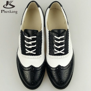 Genuine leather flat shoes women sping vintage British style oxford shoes for women