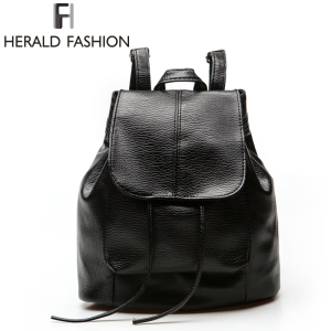 Herald Fashion Women Backpack PU Leather Black School Bags For Teenagers Girls Female Casual Travel Bags Pack