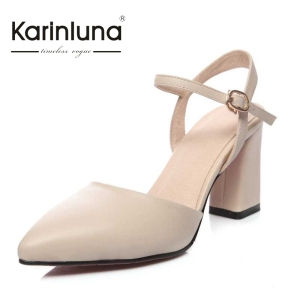 KarinLuna Size 33-40 Fashion Women Sexy Pointed Toe Square High Heels Party Wedding Sandals Ankle Straps Shoes