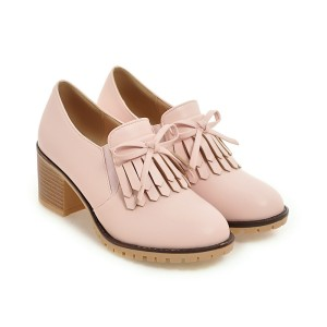 New 2017 chunky heel women shoes spring casual butterfly shoes black pink heels for women oxford shoes leather pumps