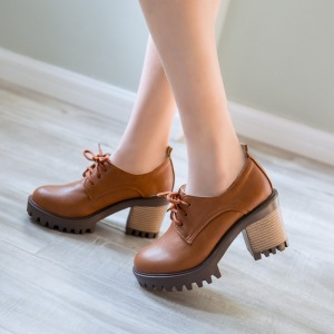 New 2017 Vintage Lace Up Oxford Shoes for Women Fashion British Style Round Toe Thick High Heels Spring Girls School Shoes
