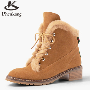 New women's Woolen fur ankle boot thick woman retro British genuine oxford matte leather shoes women flat heel boots