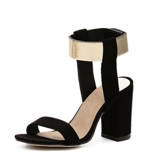 Newest Crude Heel Sandals Women Fashion Shoes Metal Quality Nubuck Leather High Heels Sandals Shoes Womans Size 35-40