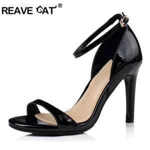 Patent leather High quality ankle strap Sandals Thin high heel leather Sandals for women Black gold silver
