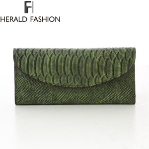 Python Pattern Wallets Women Bag 3 Fold Long Purse High Quality PU Leather Clutches Herald Fashion Carteras Card Holder
