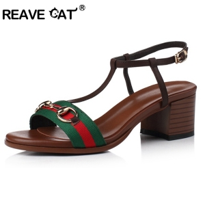 REAVE CAT Brand high quality T strap Sandals Think Low heel Metal decoration Buckle Sumer shoes for women