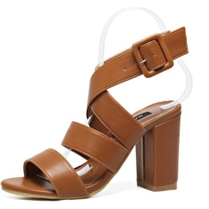 Retro Square Heels Buckle Strap Leisure hasp Sexy Sandals Shoes Woman Ankle Strap