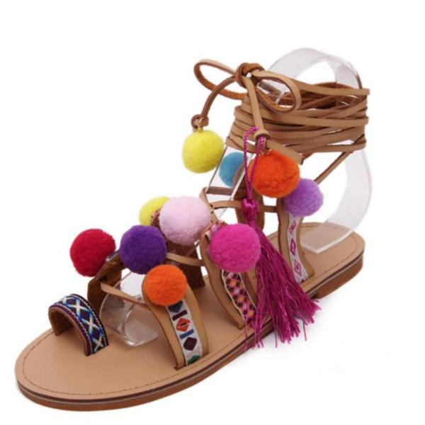 Roman Sandals China Embroidery Pompon Knee High Strappy Sandals New Women tassel Sandals Gladiator Leather Shoes Woman