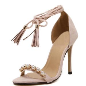 Roman Style Shoes Women Tassel high-heeled sandals Pearl Beaded Ankle straps Sexy Stiletto/Party Wedding pumps Shoes