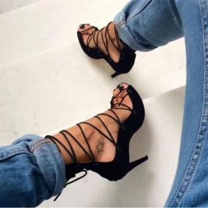 Sandals Roman Gladiator High Heels Women Sexy Front Open toe Strappy Lace Up Pumps Ladies Stilettos Genova Shoes Woman