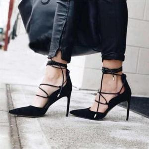 Sandals Women High Heels Sexy Pointed toe Ankle Strappy Lace Up Pumps Ladies Stilettos Genova Shoes Woman Red Black Beige