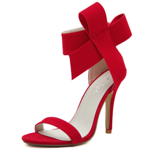 Style Sexy Open Toe High-heeled Sandals Women Big Bow Tie Butterfly Stiletto High Heels Zip Bowknot Wedding Shoes Woman