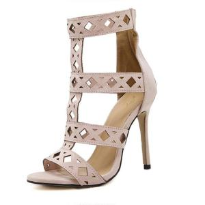 T-stage Gladiator High Heels Sandals Women Stiletto Open Toe Cut Out Zip Pumps Shoes Woman Cool Boots 35-40