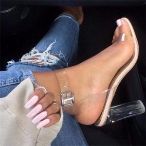 Women Sandals Ankle Strap Perspex High Heels PVC Clear Crystal Concise Classic Buckle Strap High Quality Fashion Shoes Woman