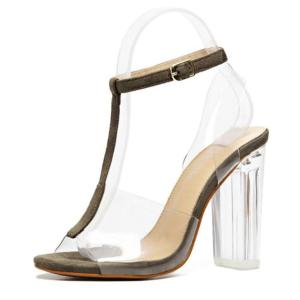 Women Sandals Ankle Strap Perspex High Heels PVC Clear Crystal Concise Classic T-Strap Buckle Strap High Quality Fashion Shoes