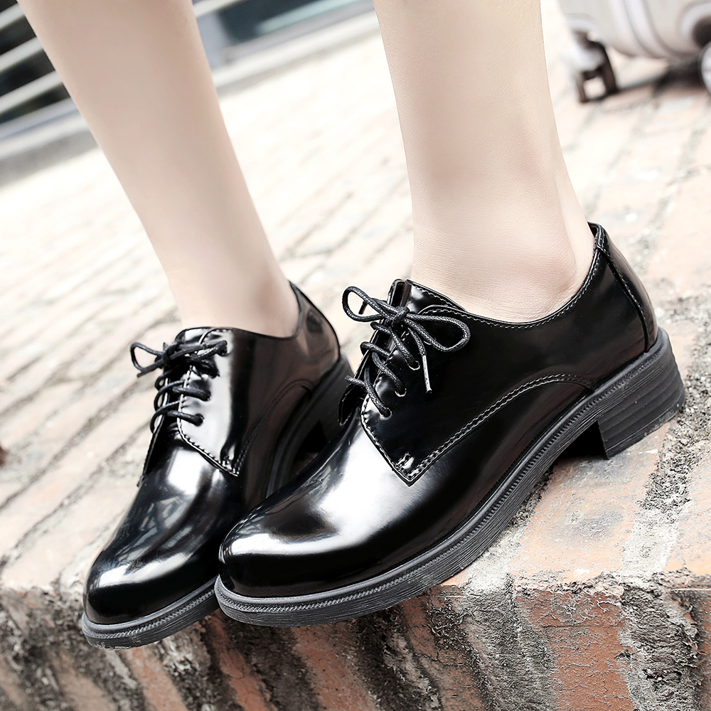 Women shoes leather loafers women lace