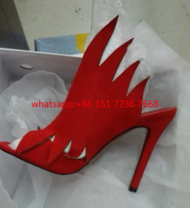 Red Black Cutouts Flame Slippers Open Toe Sexy High Heels Summer Shoes Rome Style Gladiator Sandals Women Pumps