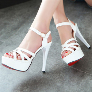 Sexy Lady's Sandals Summer Red Bottom Gladiator Party Platform Stiletto High Heels Female Cutout White Shoes