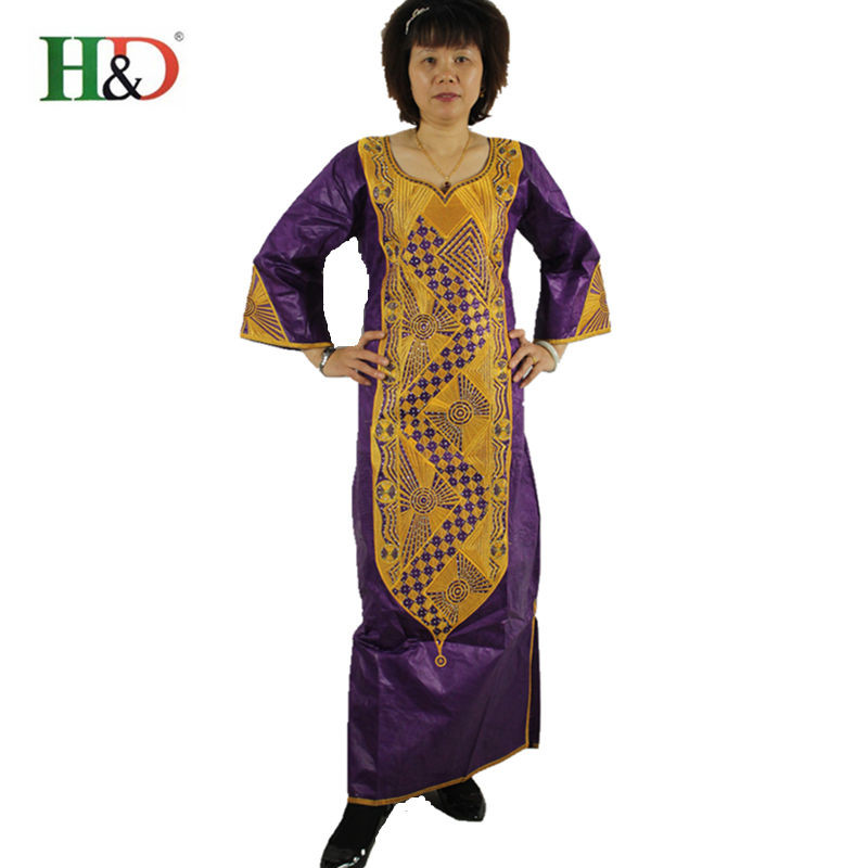 African Clothing Women 100/% Cotton Embroidered Bazin Riche Long Dress X21253