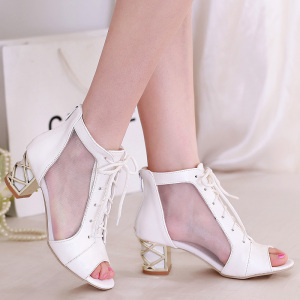 Big size 30-43 high quality fashion women sexy cut-outs cover heels square heel med heels sandals 2 colors