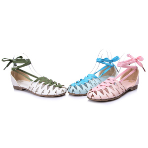 Big size 30-43 high quality fashion women solid lace up cut-outs gladiator sandals 3 colors