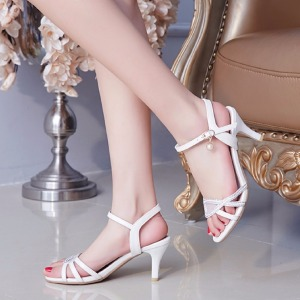 new sweet spring and Women shoes back strap Rhinestone Thin heel sandals solid color shoes big size 30-43