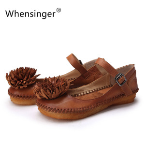 Whensinger - 2017 New Women Summer Sandals Genuine Leather Shoes Buckle Strap Design 201-23