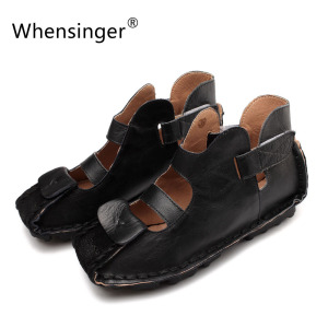 Whensinger - 2017 Gladiator Sandals Women Summer Shoes Leather Female Soft Classics Manual Sewing Cover Heel 8028-2