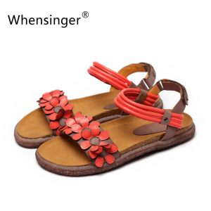 Whensinger 2017 Women Sandals Female Gladiator Genuine Leather Shoes Beach Soft Rome Ethnic Sewing Fashion L1668