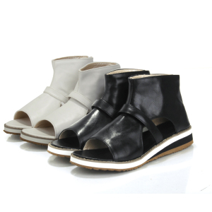 Big size 30-43 high quality hot sale 2015 new fashion women casual solid zip pu leather sandals 2 colors