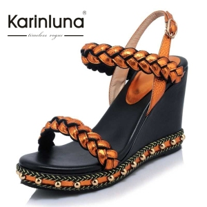 2017 Genuine Leather Buckle Strap Women Open Toe Cutout Sandals Summer Wedges Platform Bordered Shoes Big size33-40