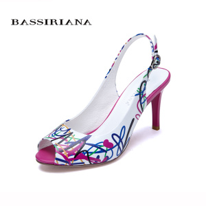 Genuine leather shoes woman Summer 2017 Heels Open Toe Sandals White Print Fashion 35-40 Back Strap