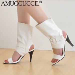 Wholesales!Plus Big Size 30-43 Black White Red Buckle Fashion Casual High Heel Girls Lady Female Summer Womens Sandals