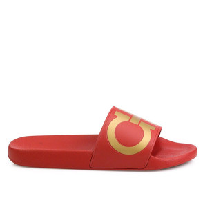 Mens Fashion Causal Shoes Flat Rhinestone Slide Sandals Red Gold Black For Men Summer Outdoor Beach Sandals Slippers