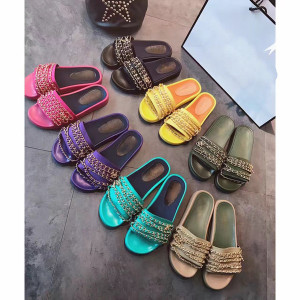 actual shoes! big size 40 41 42 genuine leather chain slide flat sandals luxury women designer outdoor beach fashion causal rubber sandals