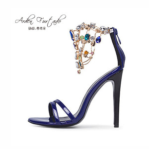 Arden Furtado new 2017 summer shoes sandals sexy high heels 12cm wedding shoes for women plus size 11 blue ankle strap rhinestone sandals