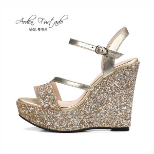 Arden Furtado new  summer shoes for woman platform wedges extreme high heels casual sandals women sequined cloth sandals open toe sexy